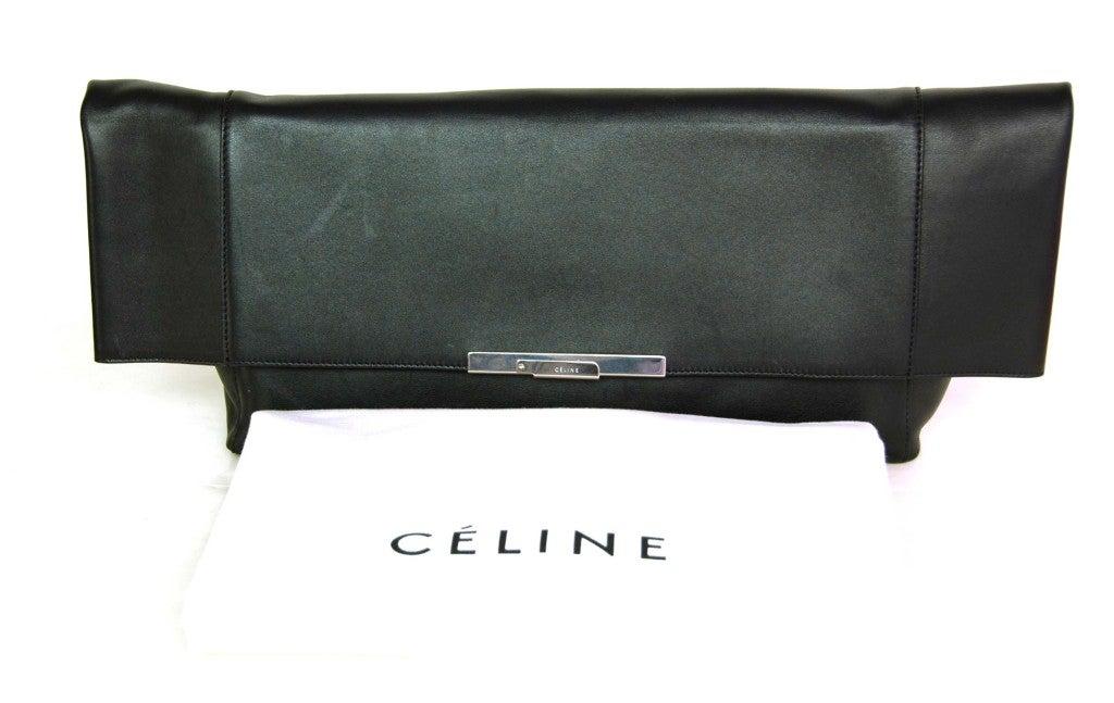 CELINE Black Leather Flap Clutch 2
