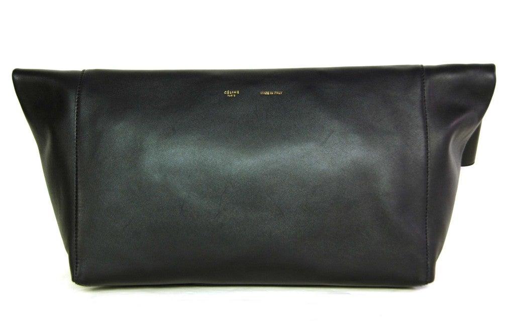 CELINE Black Leather Flap Clutch 4
