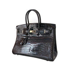Hermes Black Porosus Crocodile 35 Cm Birkin Bag