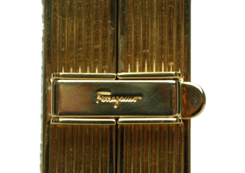 Salvatore Ferragamo Rose Gold Box Clutch 3