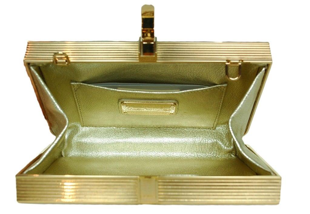 Salvatore Ferragamo Rose Gold Box Clutch 4