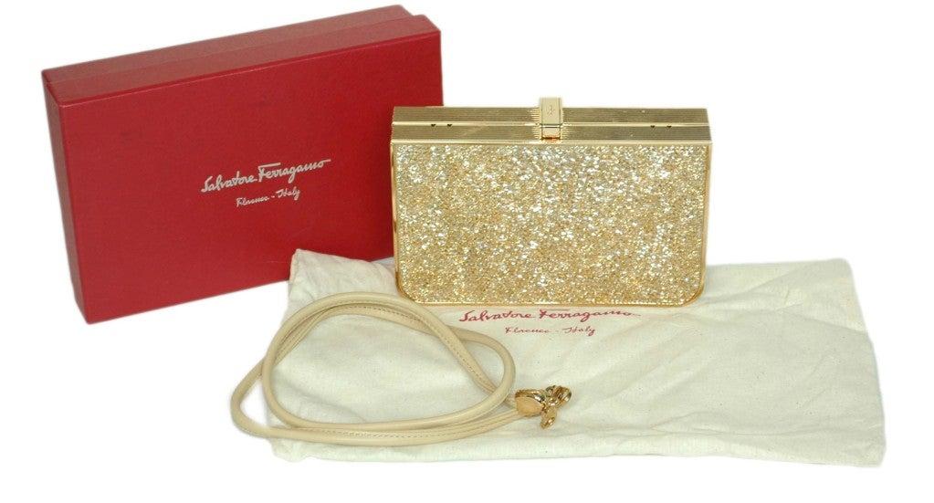 Salvatore Ferragamo Rose Gold Box Clutch 7