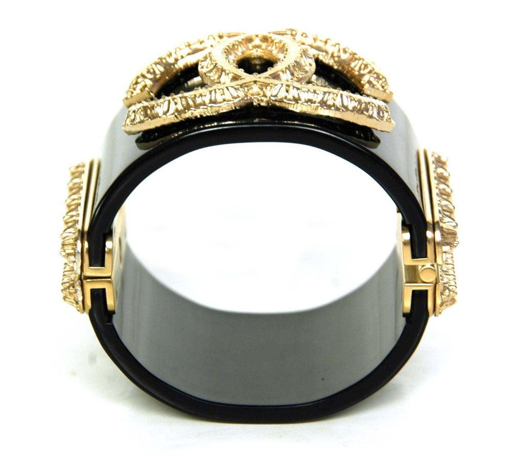 CHANEL Black Cuff with Gold Textured CC image 3