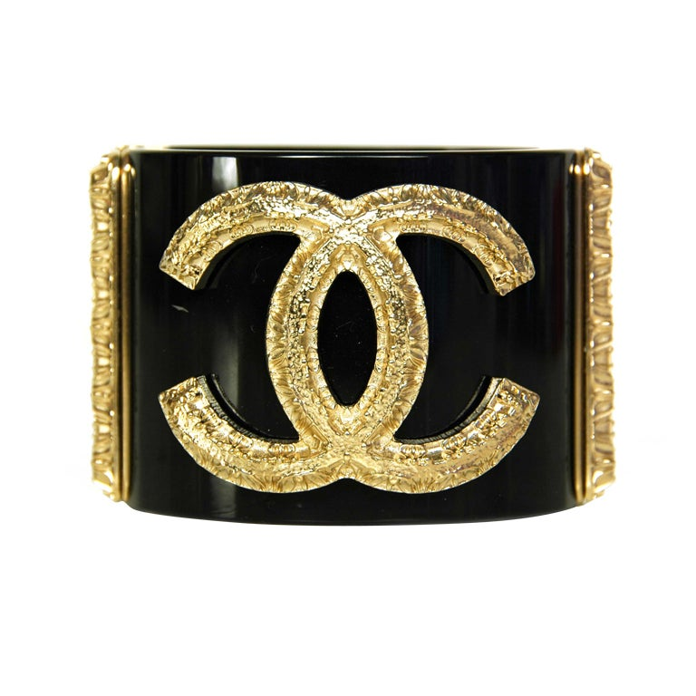 CHANEL Black Cuff with Gold Textured CC
