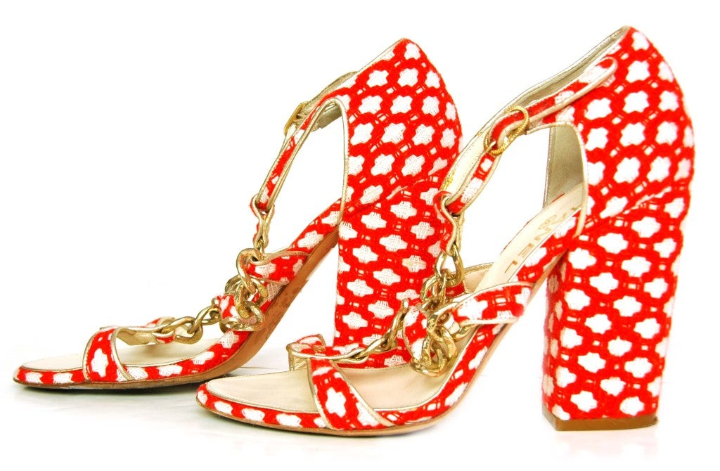 CHANEL Red Tweed Shoes with Chain Detail & Stacked Heel 2