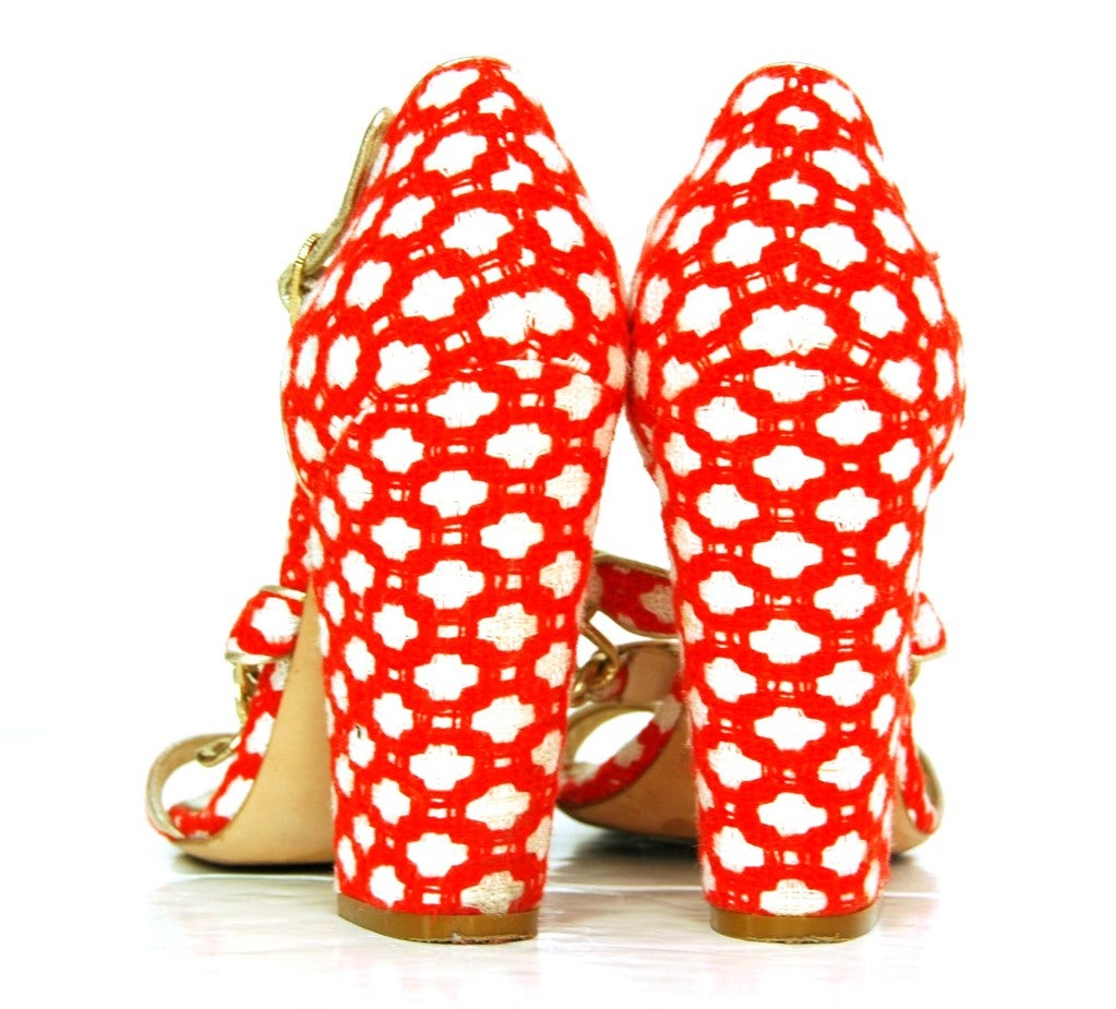 CHANEL Red Tweed Shoes with Chain Detail & Stacked Heel 5