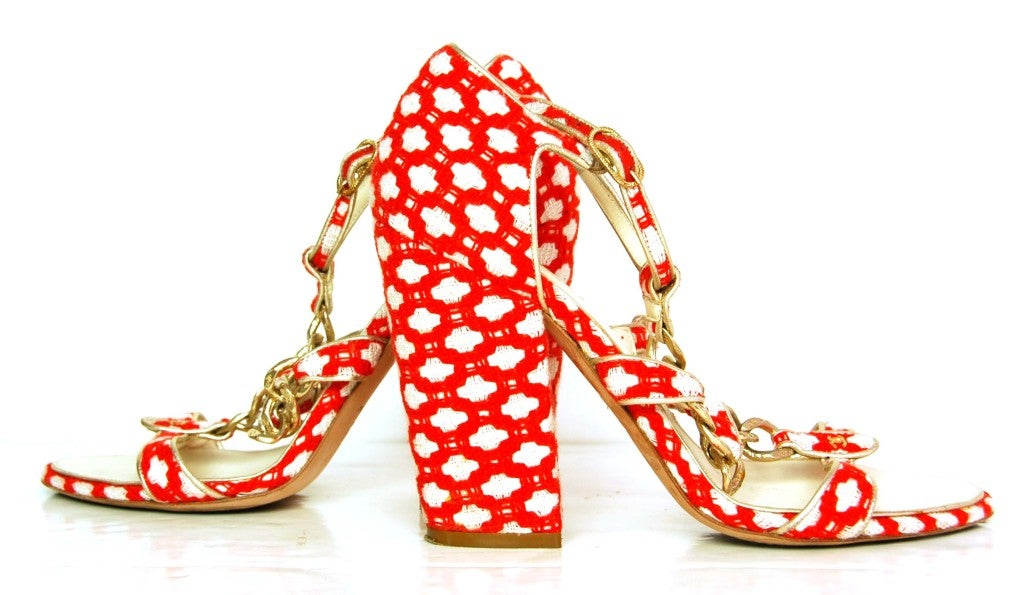 CHANEL Red Tweed Shoes with Chain Detail & Stacked Heel 6