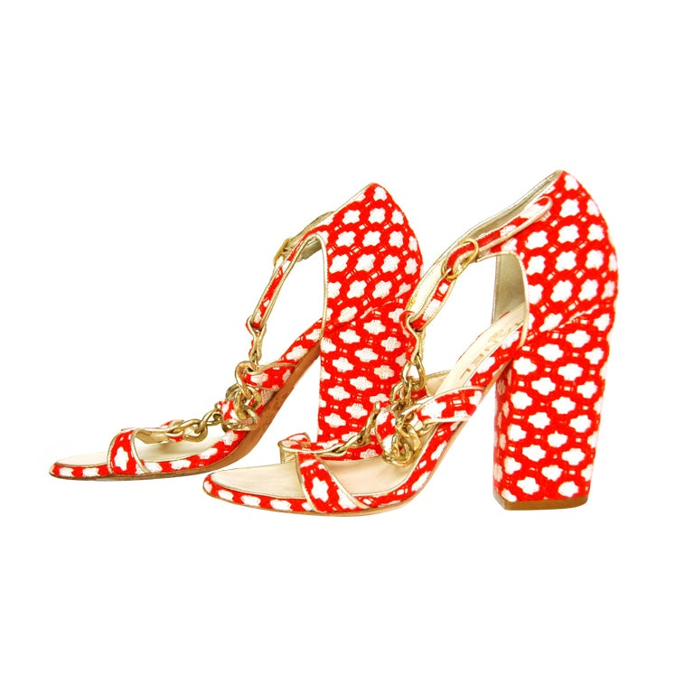 CHANEL Red Tweed Shoes with Chain Detail & Stacked Heel 1