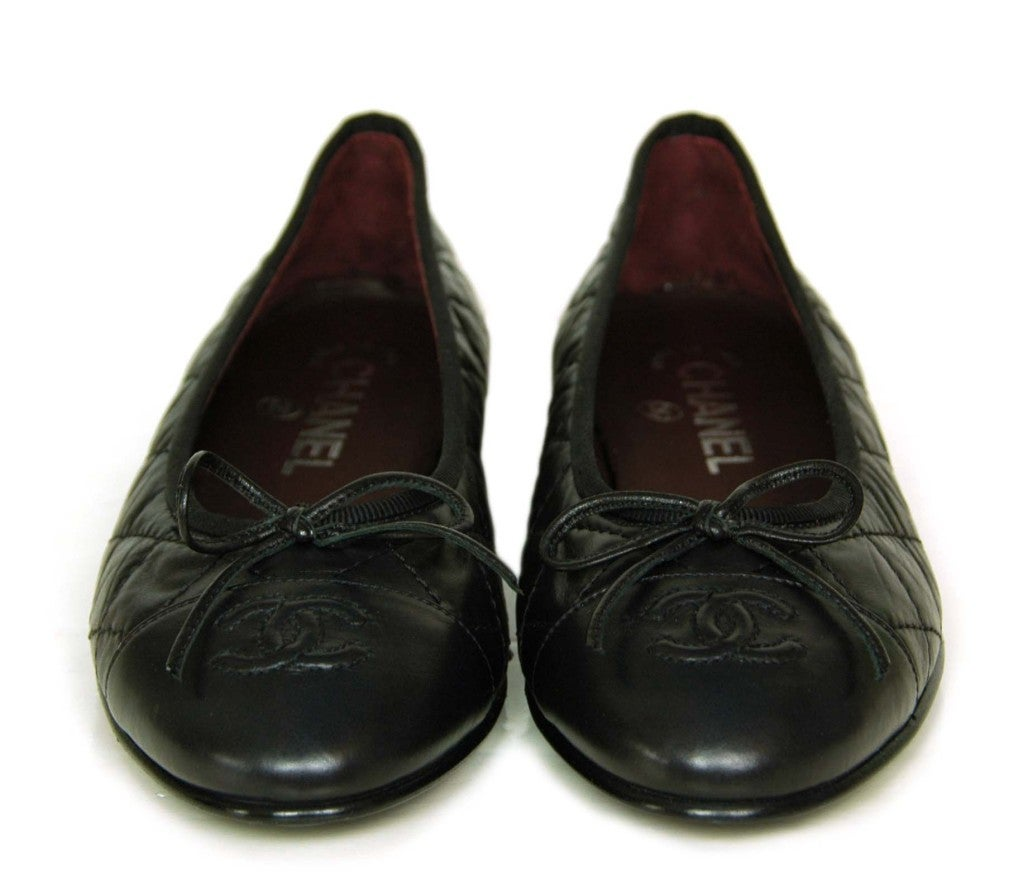 CHANEL Black Quilted Leather Flats with CC Toes 2