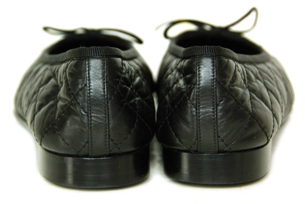 CHANEL Black Quilted Leather Flats with CC Toes 4