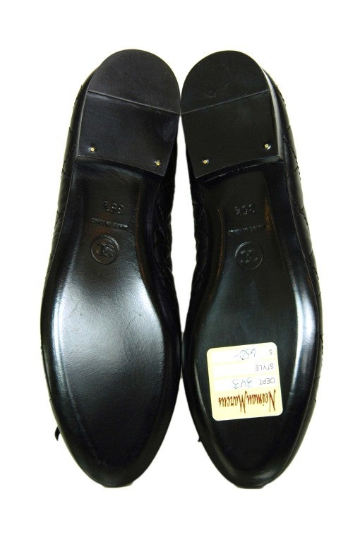 CHANEL Black Quilted Leather Flats with CC Toes 5