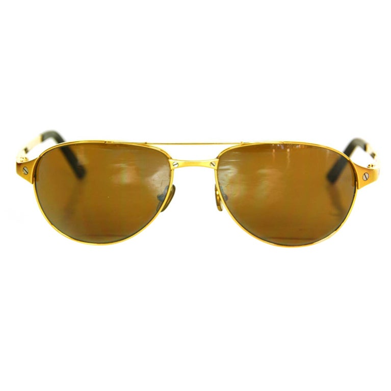 Cartier Gold Frame Sunglasses : CARTIER Gold Frame Aviators with Screws at 1stdibs