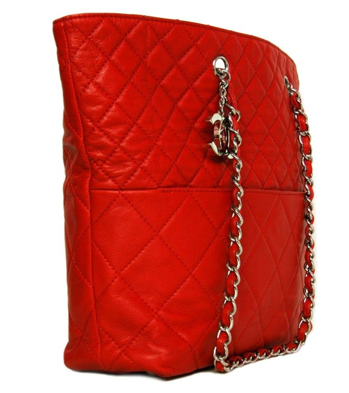 CHANEL Red Quilted Leather Tote with Chain Handle 2