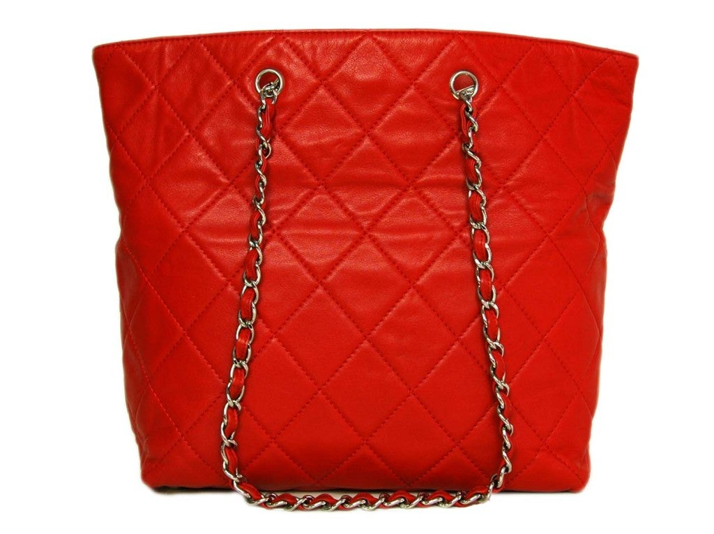 CHANEL Red Quilted Leather Tote with Chain Handle 3