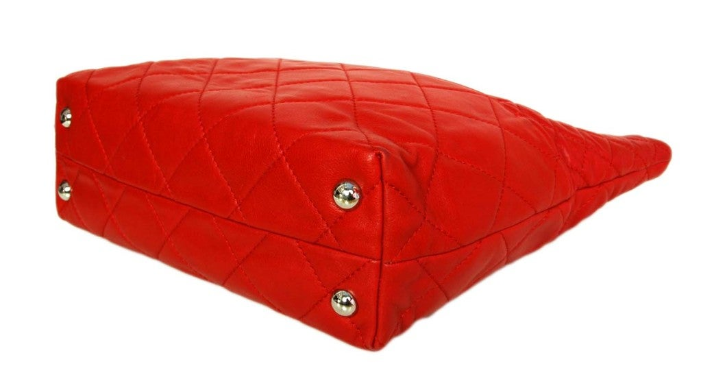 CHANEL Red Quilted Leather Tote with Chain Handle 4
