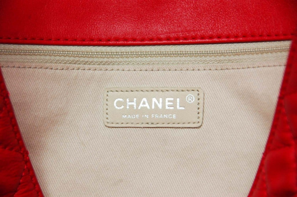 CHANEL Red Quilted Leather Tote with Chain Handle 6