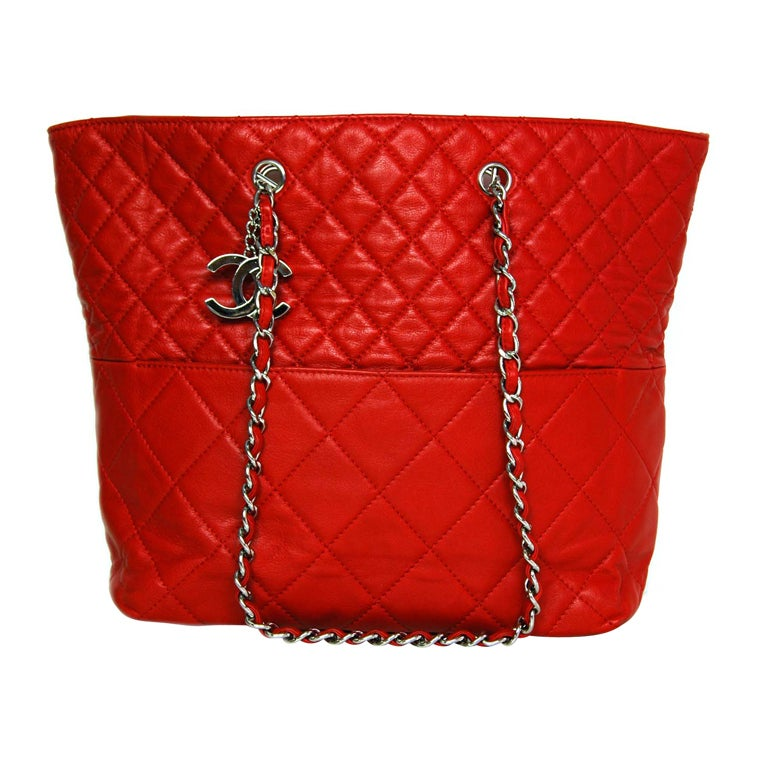 CHANEL Red Quilted Leather Tote with Chain Handle 1