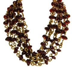 CHANEL 1984 Seven Strand Red Gripoix Necklace