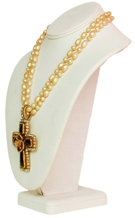 CHANEL Double Strand Faux Pearl Necklace 3