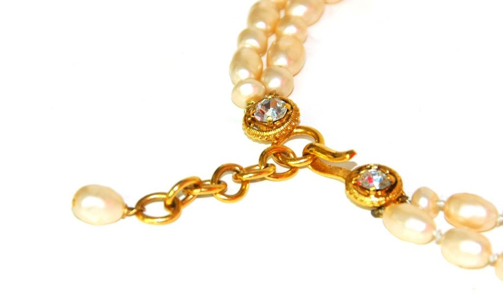 CHANEL Double Strand Faux Pearl Necklace 5