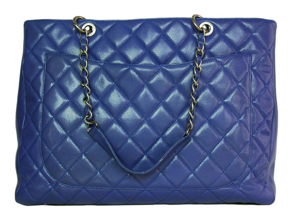CHANEL Periwinkle Blue Caviar Leather XL Shopper Tote Bag 3