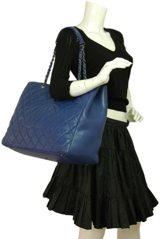 CHANEL Periwinkle Blue Caviar Leather XL Shopper Tote Bag 7