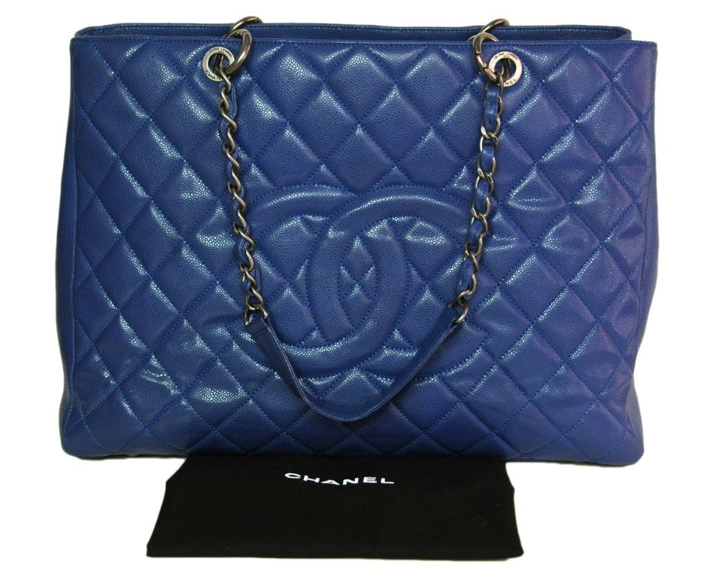 CHANEL Periwinkle Blue Caviar Leather XL Shopper Tote Bag 8