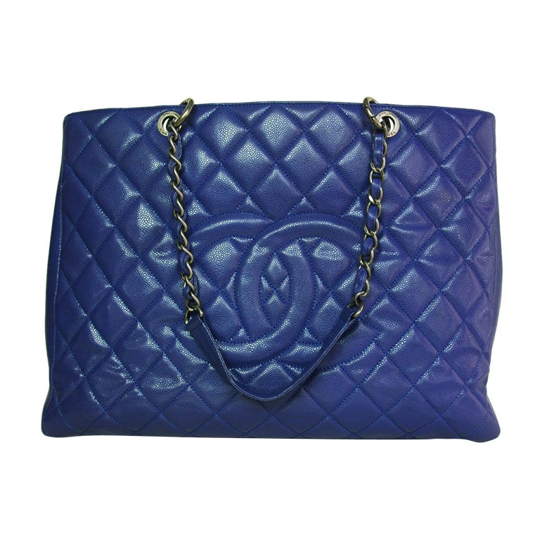 CHANEL Periwinkle Blue Caviar Leather XL Shopper Tote Bag 1