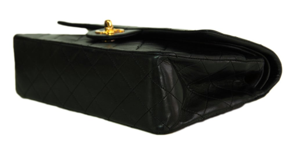 CHANEL Black Quilted Leather Vintage Classic Bag 4
