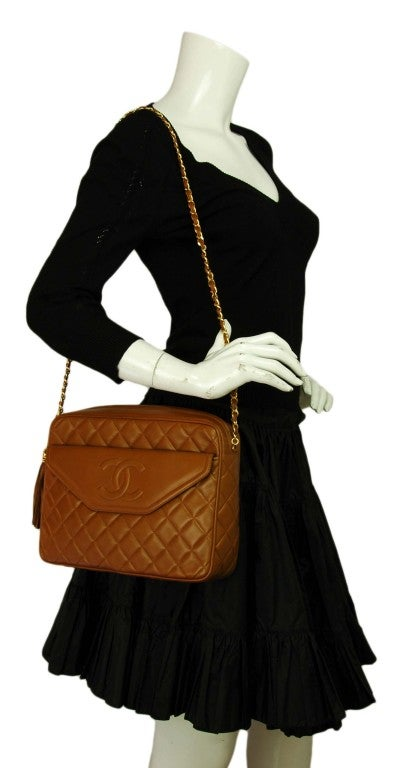CHANEL Caramel Quilted Leather Camera Bag With Tassel 10