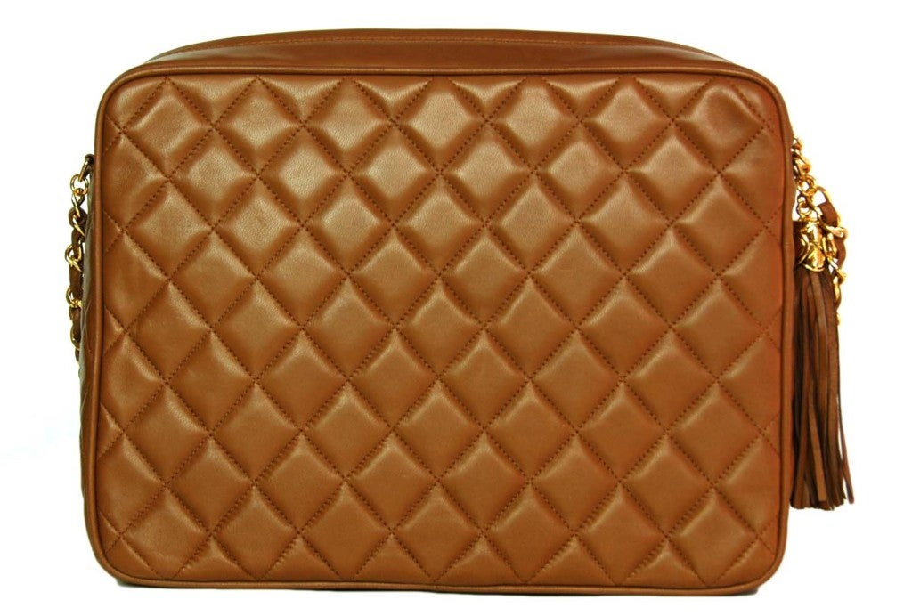 CHANEL Caramel Quilted Leather Camera Bag With Tassel 3