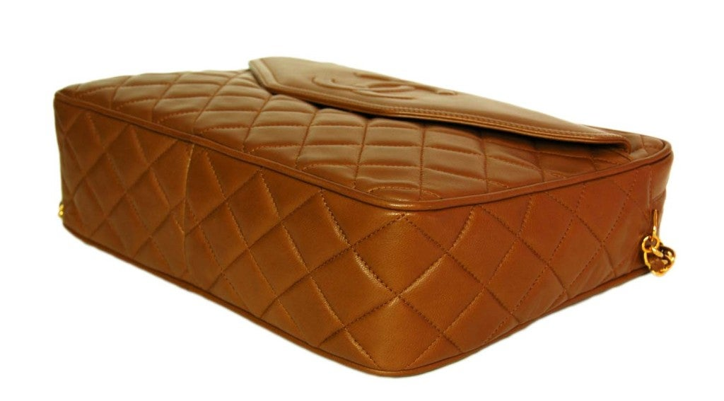 43c1a89729c1 CHANEL Caramel Quilted Leather Camera Bag With Tassel For Sale 1