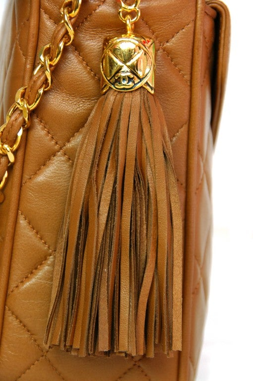 CHANEL Caramel Quilted Leather Camera Bag With Tassel 5