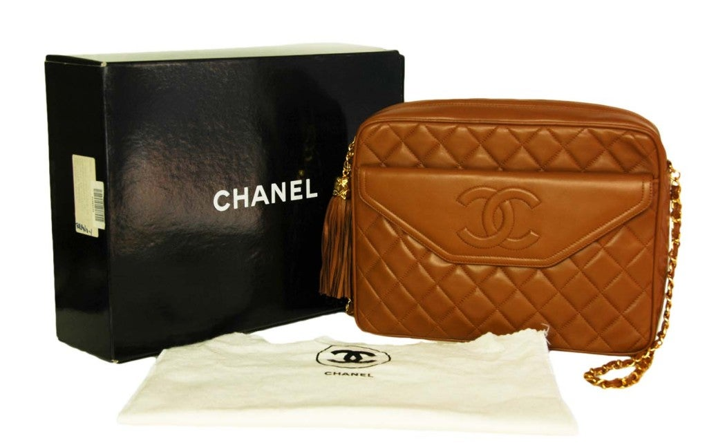 CHANEL Caramel Quilted Leather Camera Bag With Tassel 9