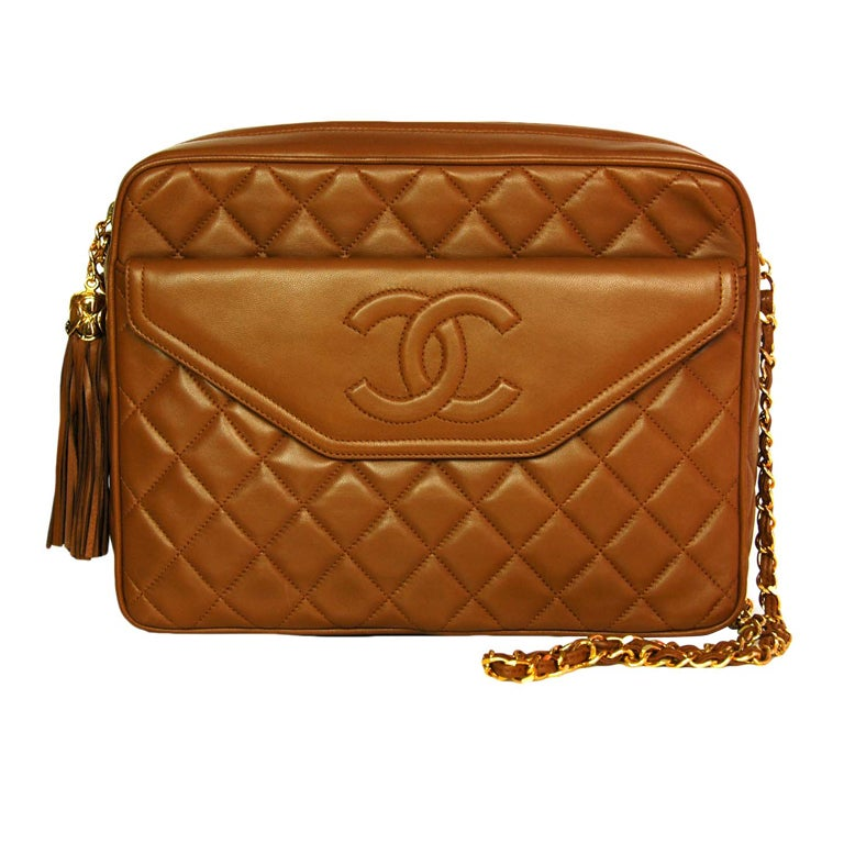 4996b8558f7e CHANEL Caramel Quilted Leather Camera Bag With Tassel at 1stdibs