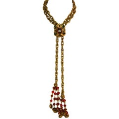 Chanel Vintage Goldtone Necklace W/ Gripoix Medallion & Tassels