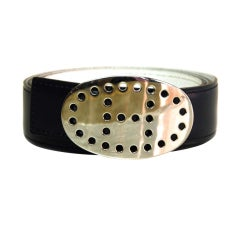 HERMES Black/White Reversible Belt with Silver Perforated H Buck