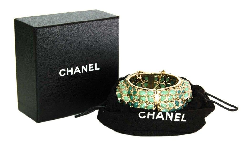 Chanel Green Enamel Paris/Shanghai Cuff Bracelet rt $4,125 2