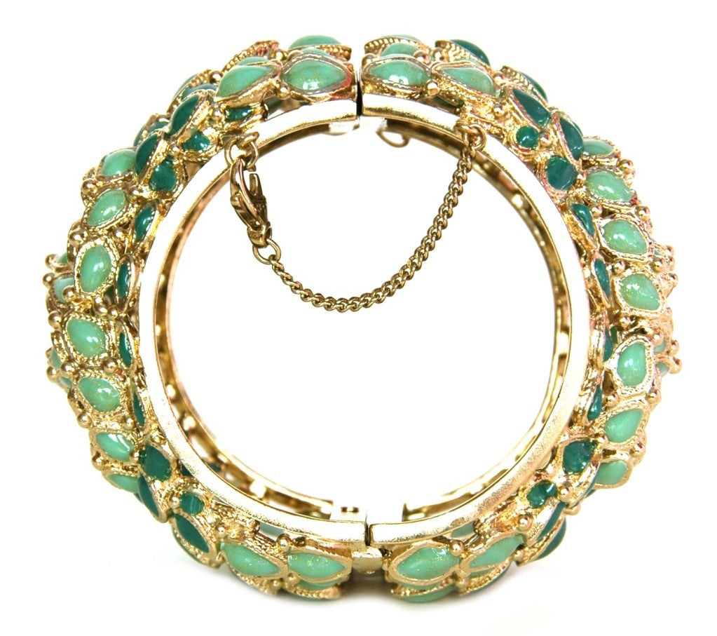 Chanel Green Enamel Paris/Shanghai Cuff Bracelet rt $4,125 3