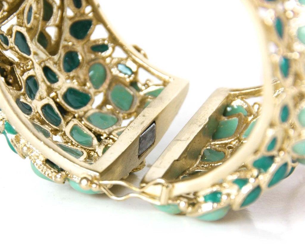Chanel Green Enamel Paris/Shanghai Cuff Bracelet rt $4,125 4