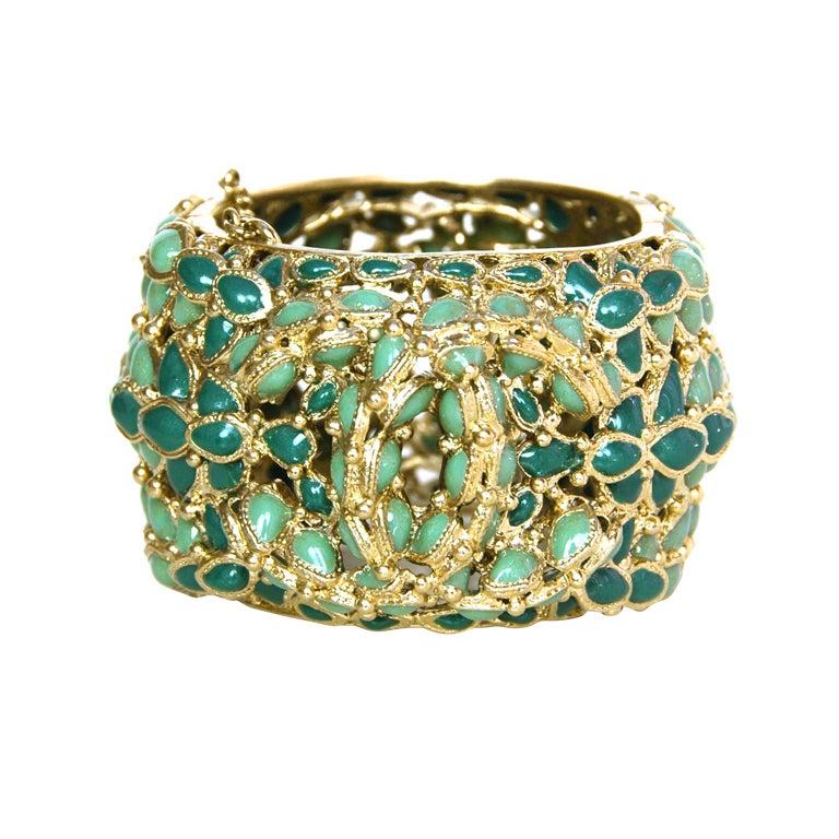Chanel Green Enamel Paris/Shanghai Cuff Bracelet rt $4,125 1