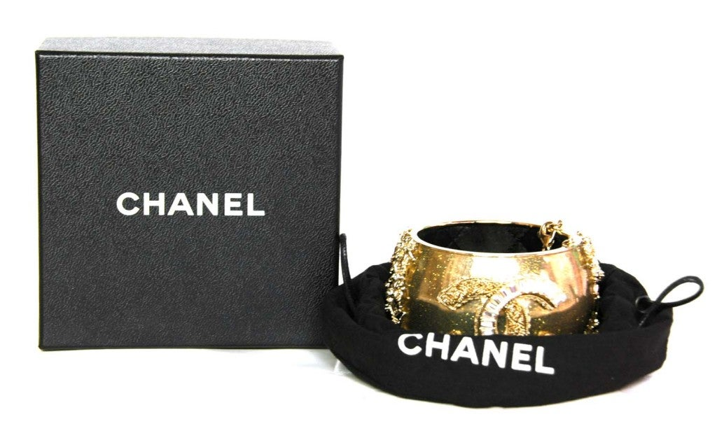CHANEL Gold Sparkly Cuff with Gold/Crystal CC image 2