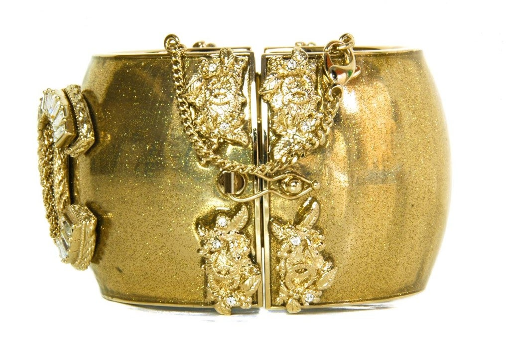 CHANEL Gold Sparkly Cuff with Gold/Crystal CC image 3