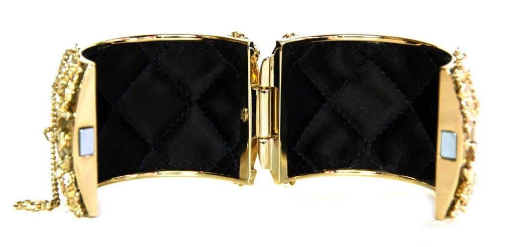 CHANEL Gold Sparkly Cuff with Gold/Crystal CC image 4