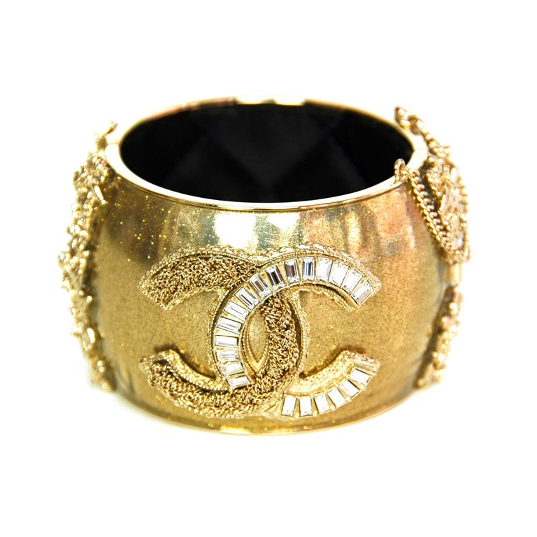 CHANEL Gold Sparkly Cuff with Gold/Crystal CC