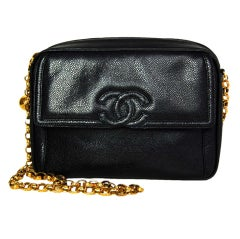 CHANEL Black Caviar Leather Vintage Camera Bag