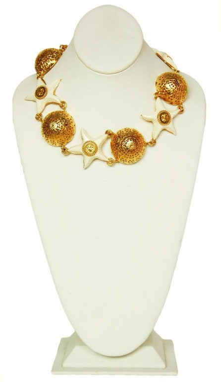 Chanel Goldtone Choker with Domes and White Resin Starfish 2
