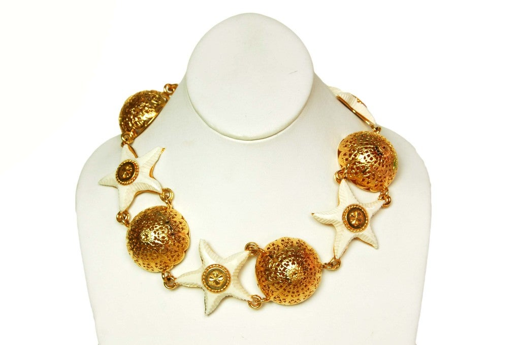 Chanel Goldtone Choker with Domes and White Resin Starfish 3