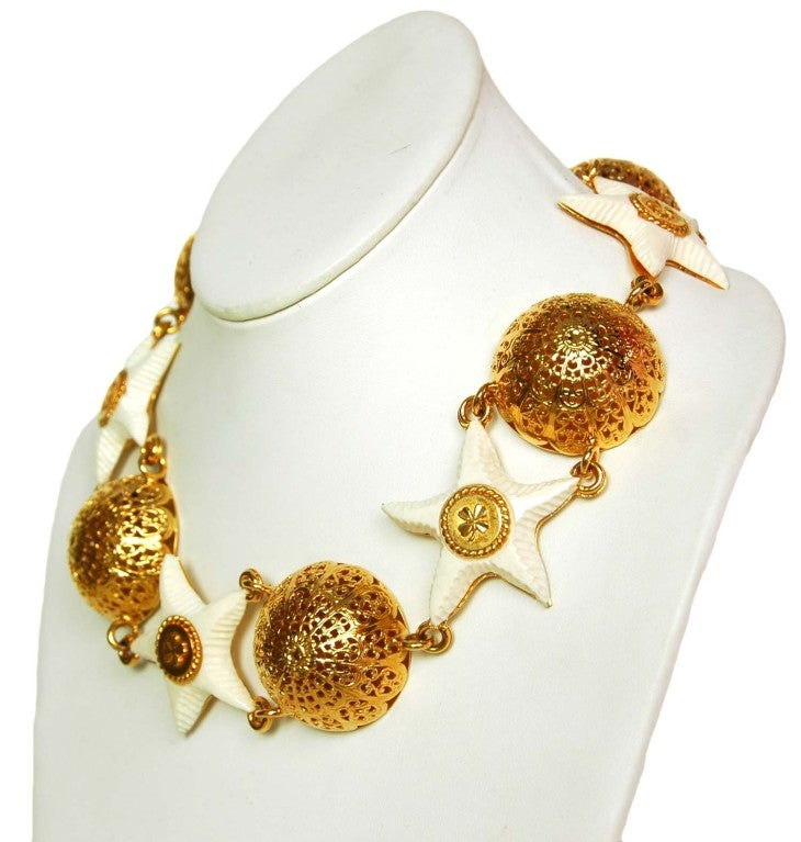 Chanel Goldtone Choker with Domes and White Resin Starfish 4