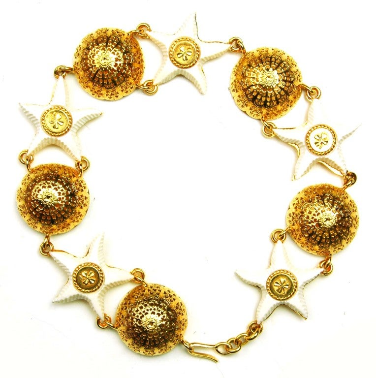 Chanel Goldtone Choker with Domes and White Resin Starfish 7